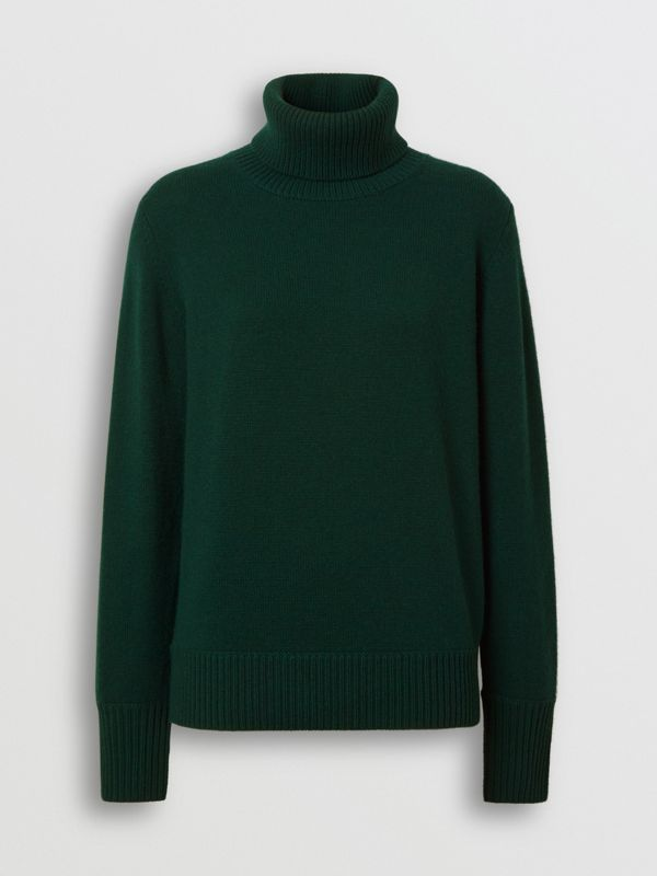 Embroidered Crest Cashmere Roll-neck Sweater in Dark Cedar Green - Women | Burberry - cell image 3