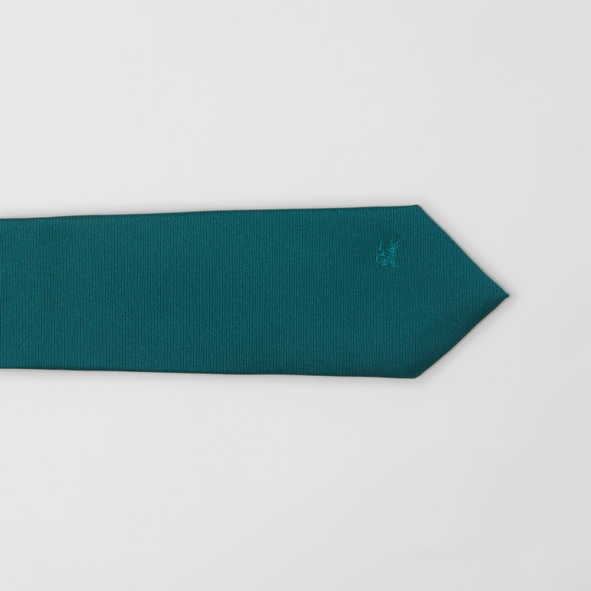 Modern Cut Check Detail Silk Tie in Dark Cyan - Men | Burberry - gallery image 1
