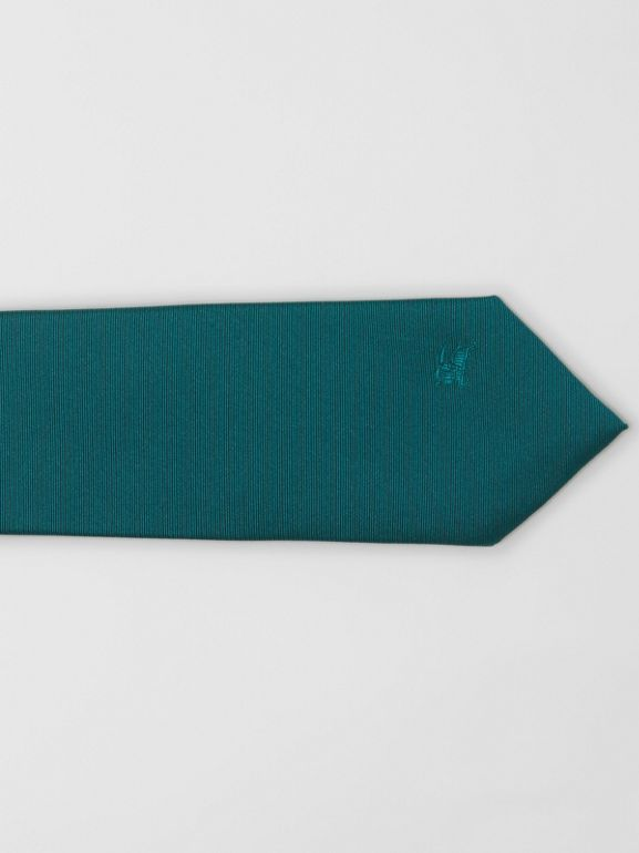Modern Cut Check Detail Silk Tie in Dark Cyan - Men | Burberry - cell image 1