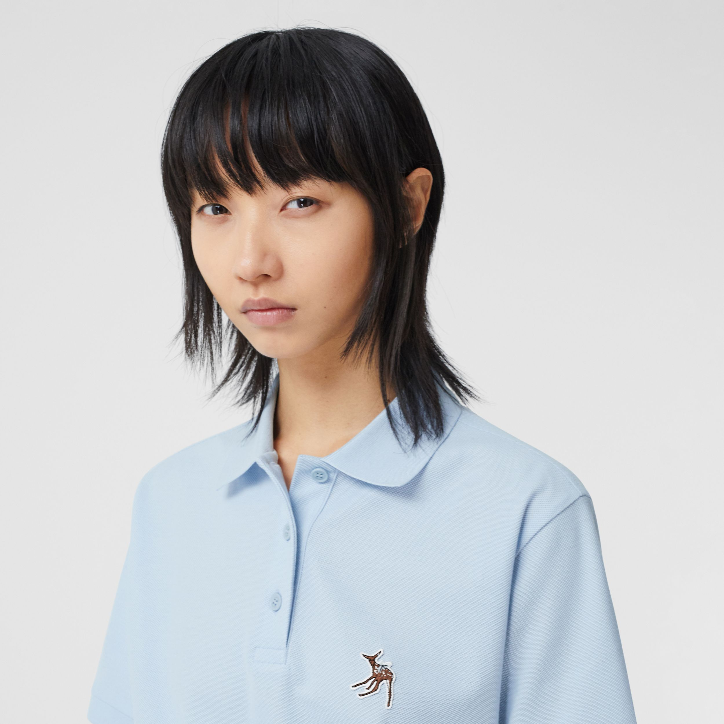 Deer Motif Cotton Piqué Oversized Polo Shirt in Pale Blue - Women | Burberry - 2
