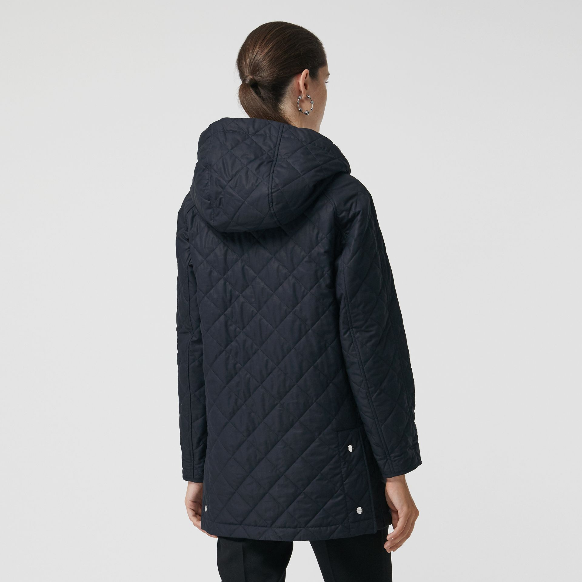Diamond Quilted Oversized Hooded Parka in Navy - Women | Burberry Singapore - gallery image 2