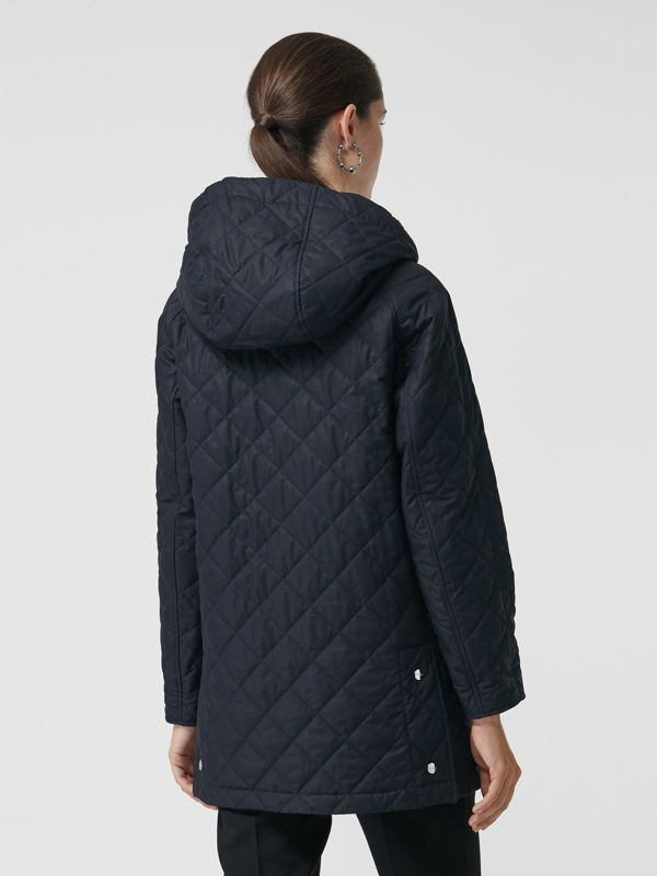 Lightweight Diamond Quilted Hooded Parka in Navy - Women | Burberry - cell image 2