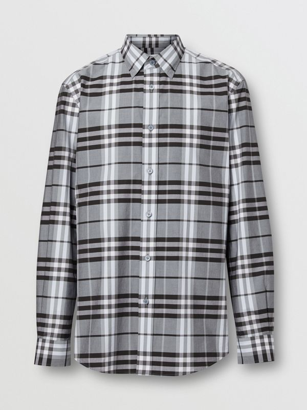 Vintage Check Cotton Poplin Shirt in Sky Blue - Men | Burberry - cell image 3