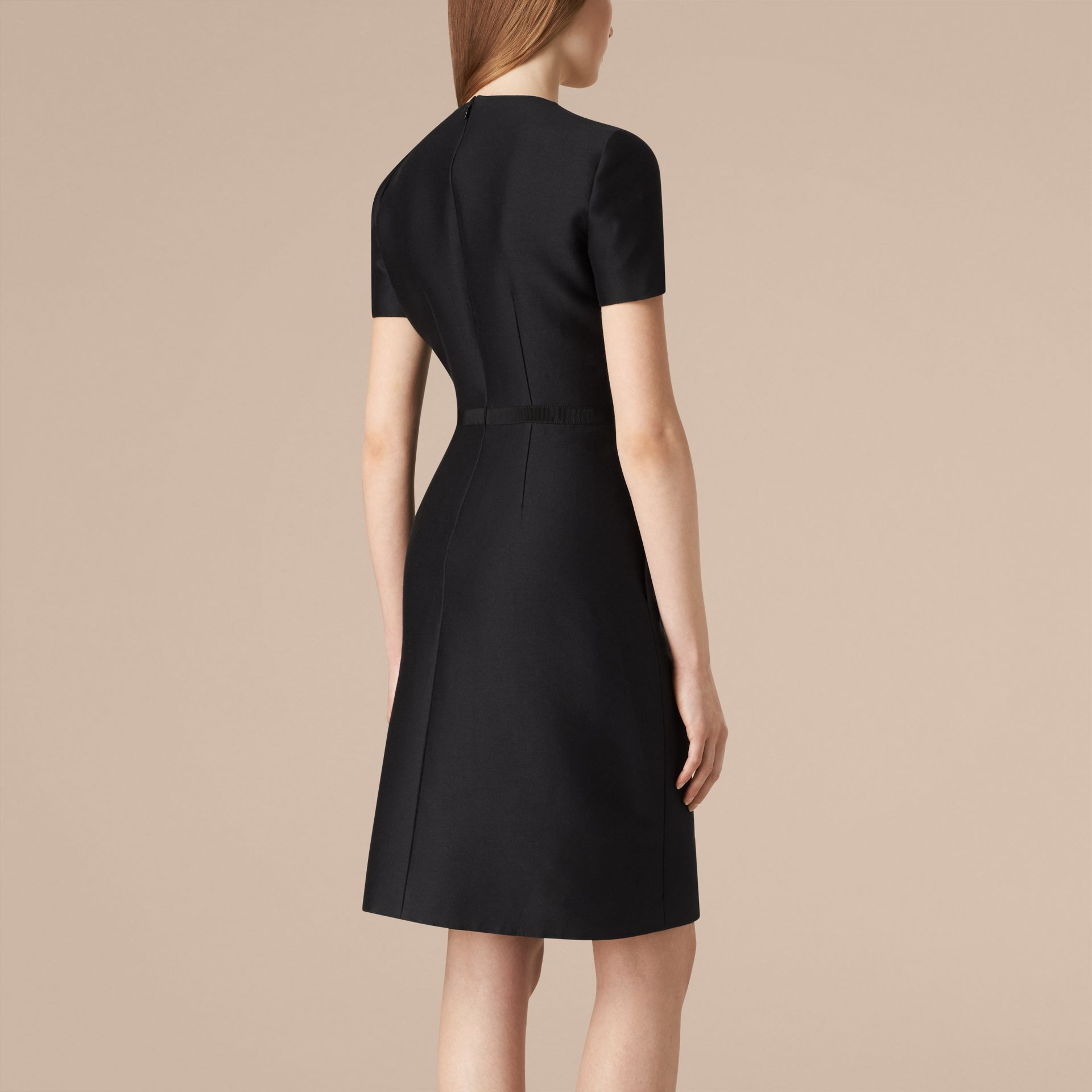 Black Sculptural Cotton Silk Dress - gallery image 3