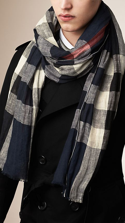 Navy check Check Linen Crinkled Scarf - Image 3
