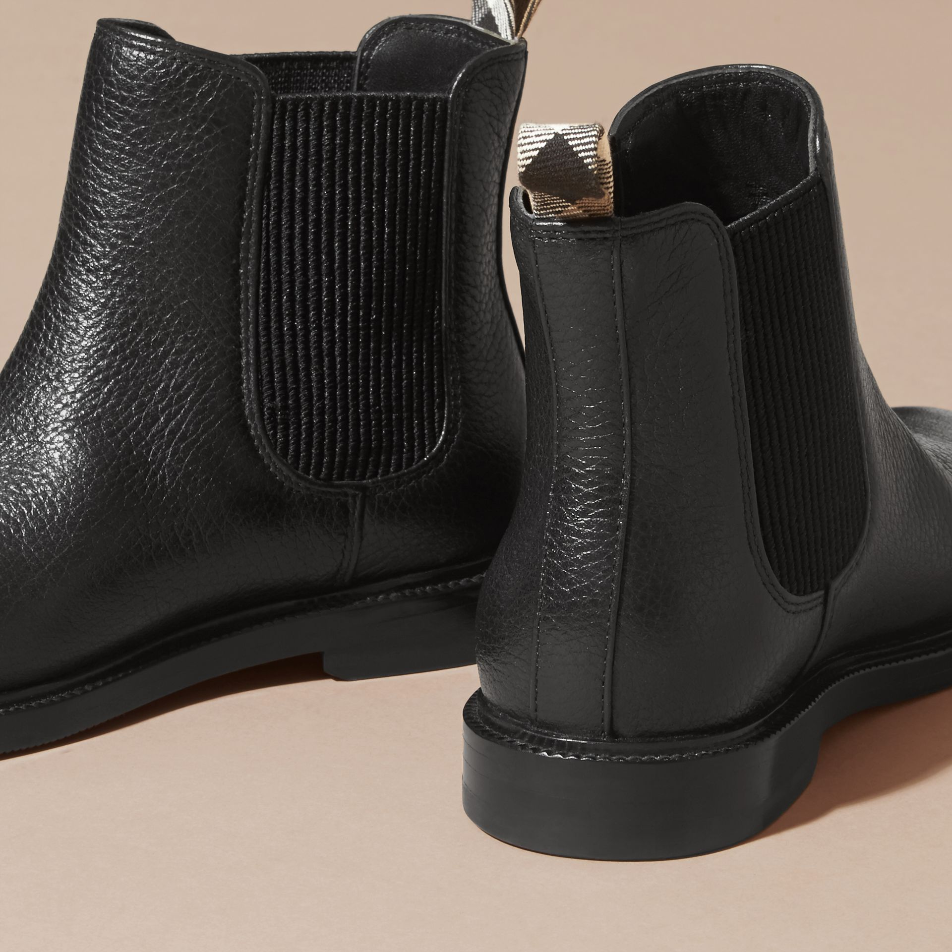 Black Grainy Leather Chelsea Boots - gallery image 3