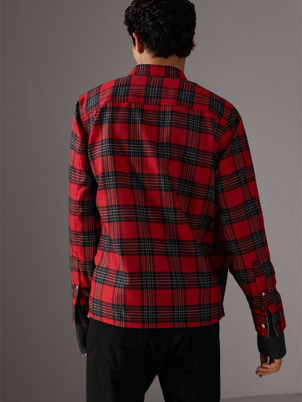 Tartan Wool Shirt in Parade Red - Men | Burberry - cell image 2