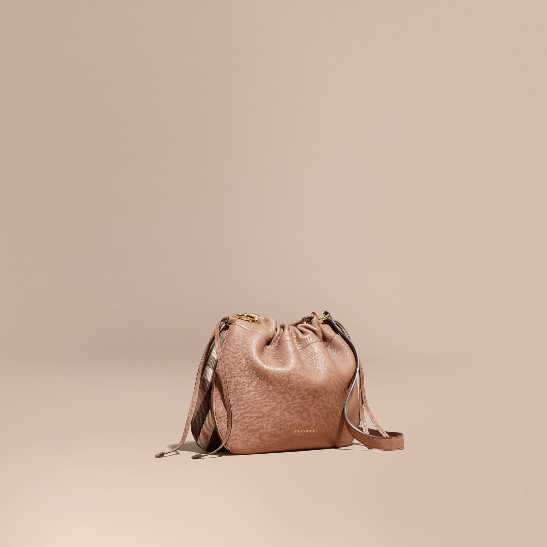 Grainy Leather and House Check Crossbody Bag in Dark Sand - gallery image 1