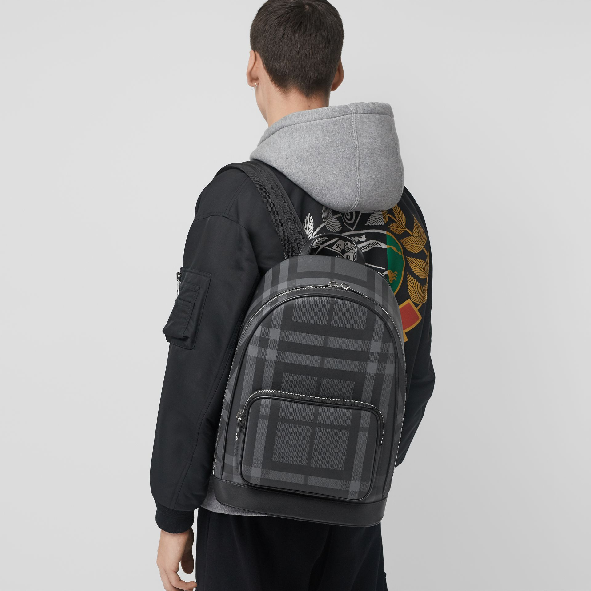 London Check and Leather Backpack in Charcoal/black - Men | Burberry United Kingdom - gallery image 3