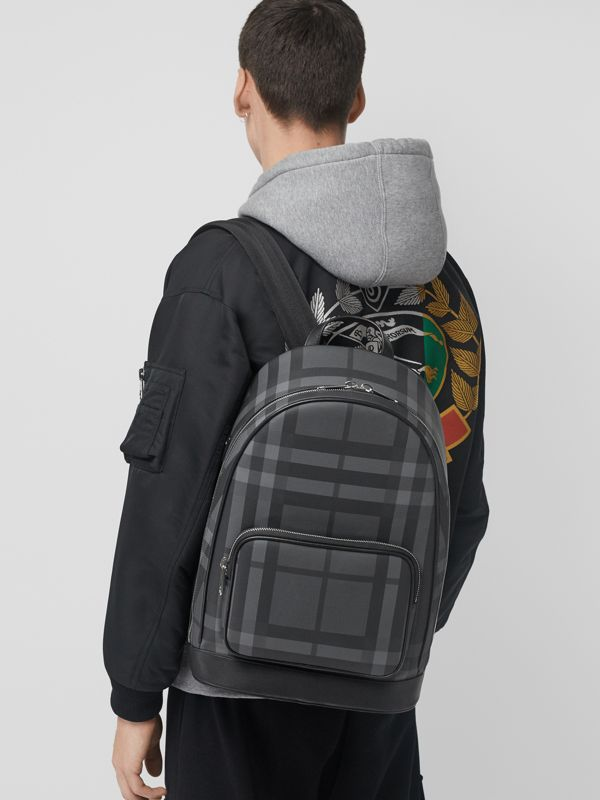 London Check and Leather Backpack in Charcoal/black - Men | Burberry - cell image 3