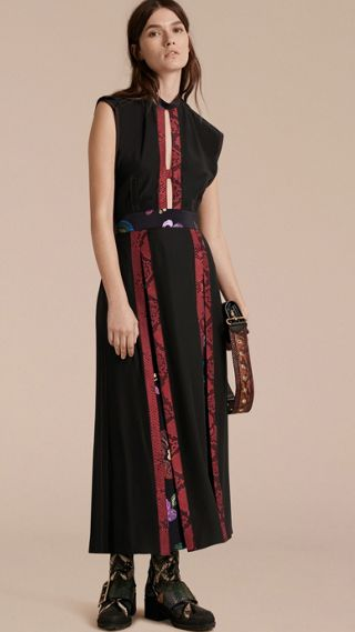 Silk Dress with Floral and Python Print Panels