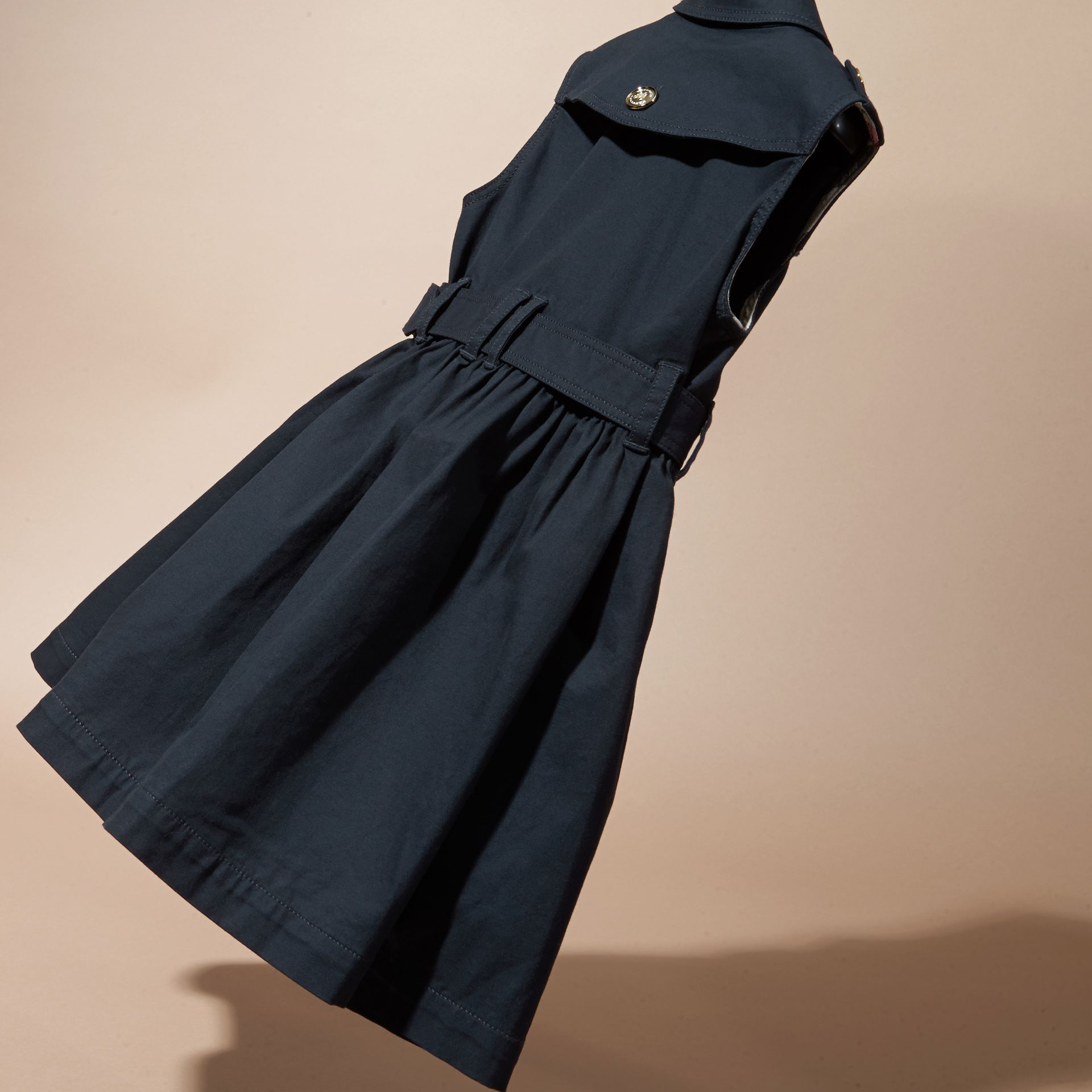 Navy Stretch Cotton Sleeveless Trench Dress - gallery image 4