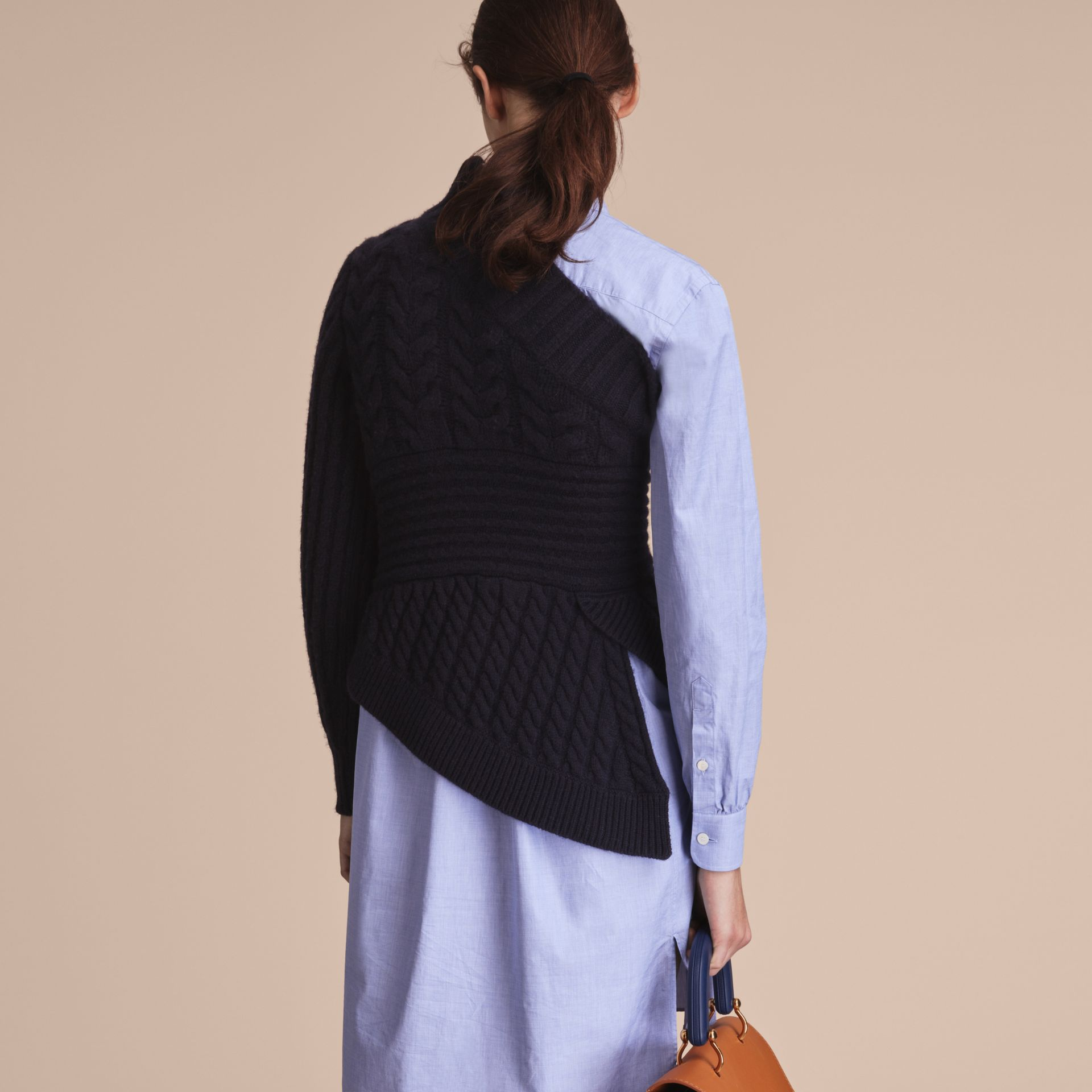 One-shoulder Cable Knit Cashmere Sweater in Navy - Women | Burberry - gallery image 3