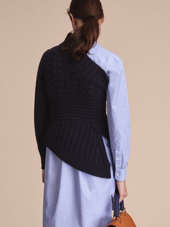 One-shoulder Cable Knit Cashmere Sweater in Navy - Women | Burberry - cell image 2