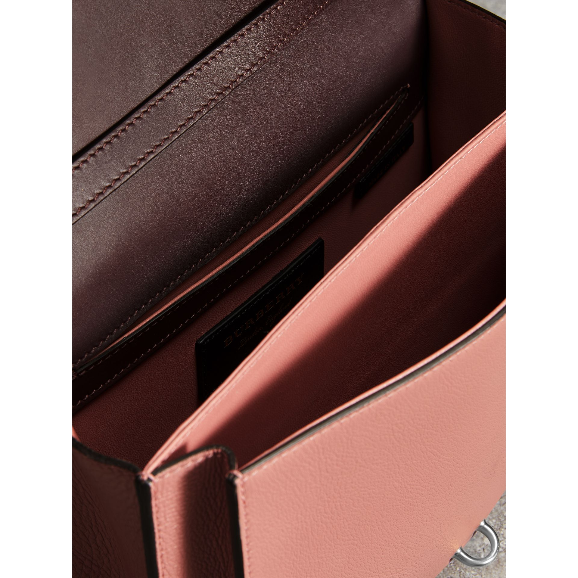 Two-tone Leather Crossbody Bag in Dusty Rose/deep Claret - Women | Burberry United Kingdom - gallery image 5