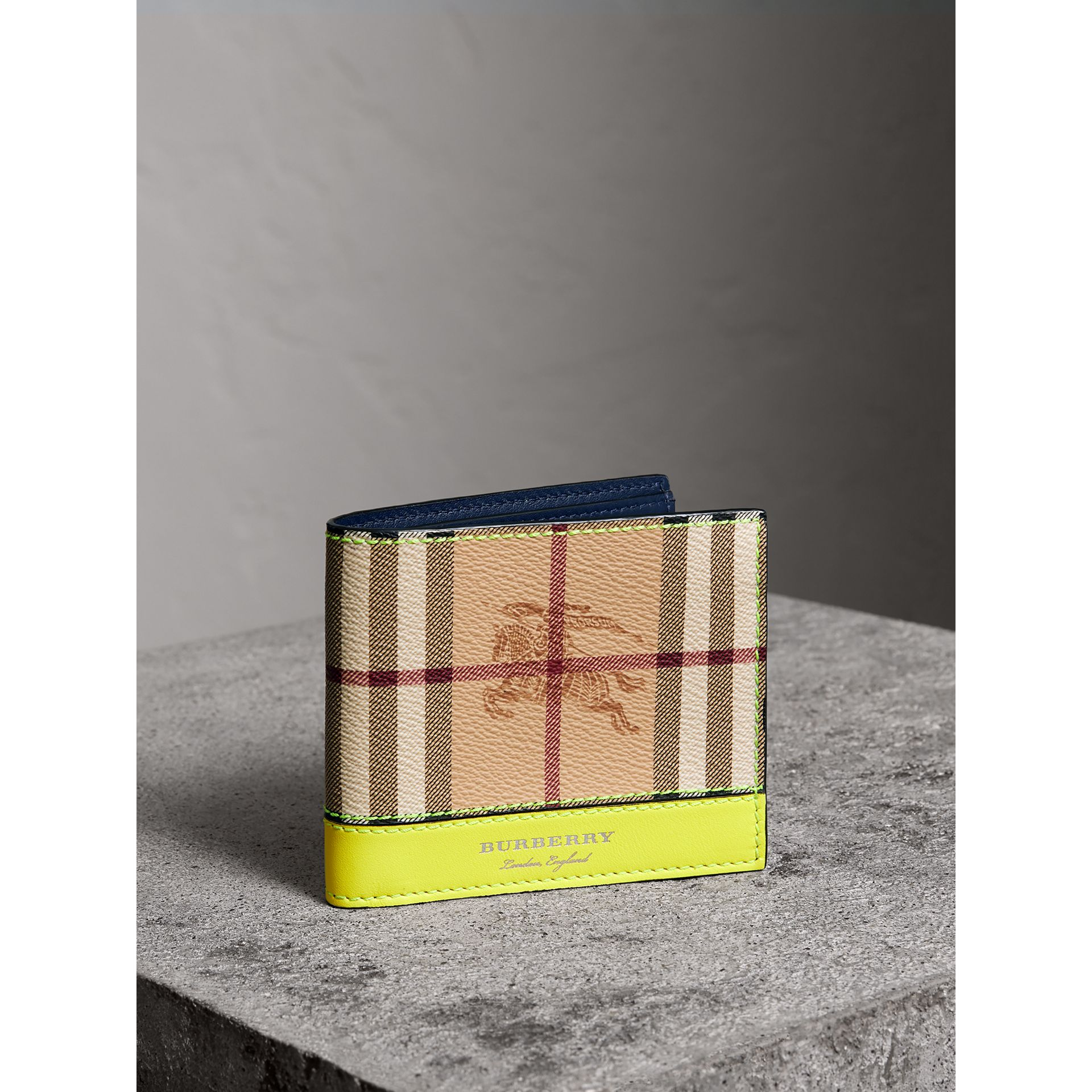 Haymarket Check International Bifold Wallet in Bright Yellow - Men | Burberry - gallery image 0