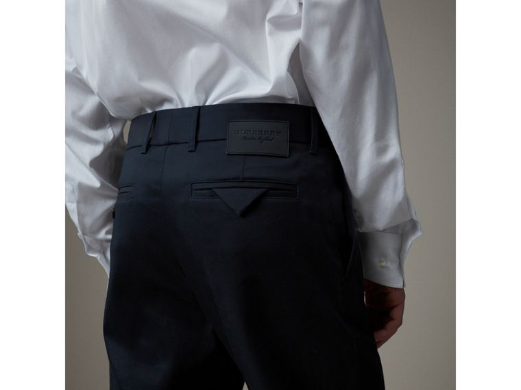 Cotton Twill Cropped Chinos in Navy - Men | Burberry Singapore - cell image 1