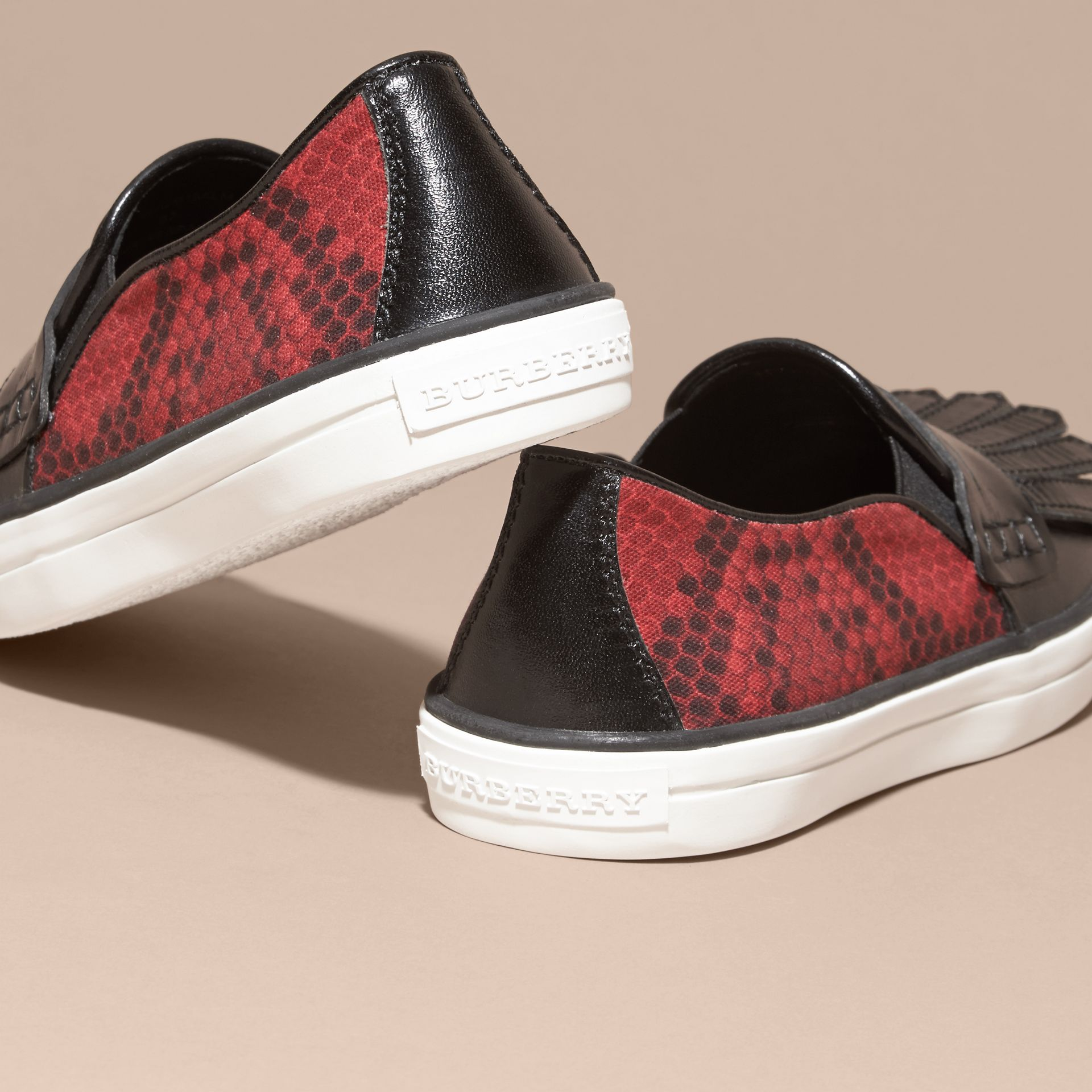 Black/windsor red Python Print Cotton and Leather Trainers Black/windsor Red - gallery image 4