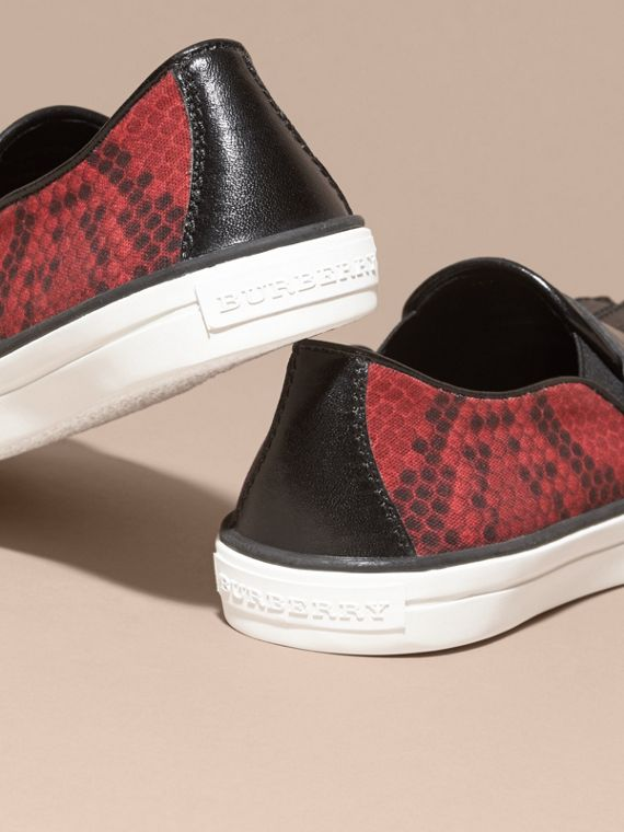 Black/windsor red Python Print Cotton and Leather Trainers Black/windsor Red - cell image 3