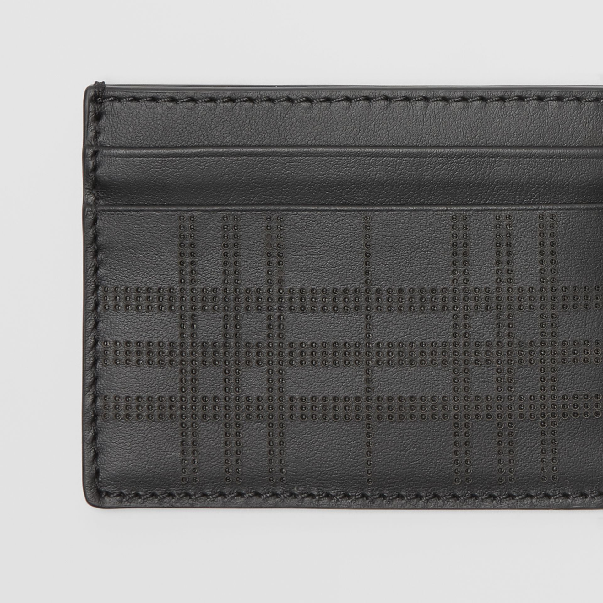Perforated Check Leather Card Case in Black | Burberry - gallery image 1