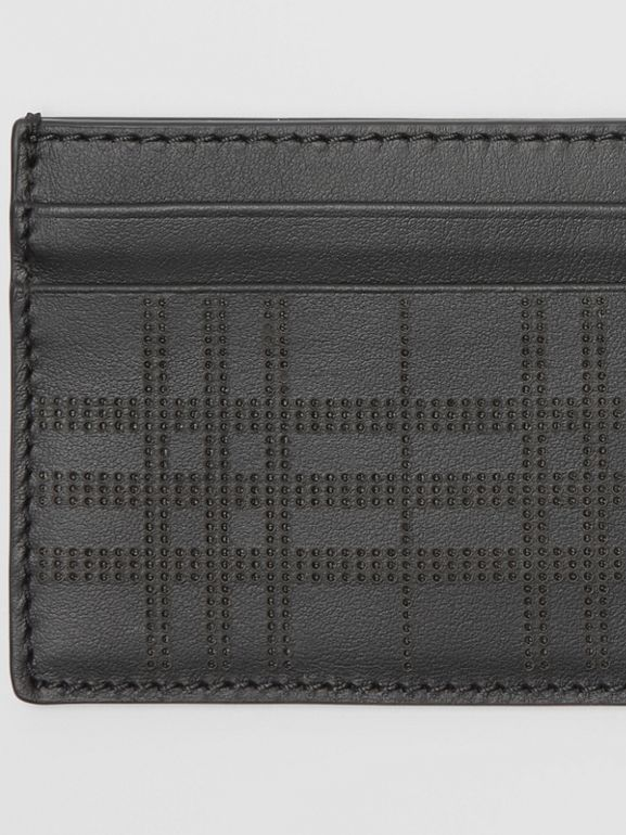 Perforated Check Leather Card Case in Black - Men | Burberry - cell image 1
