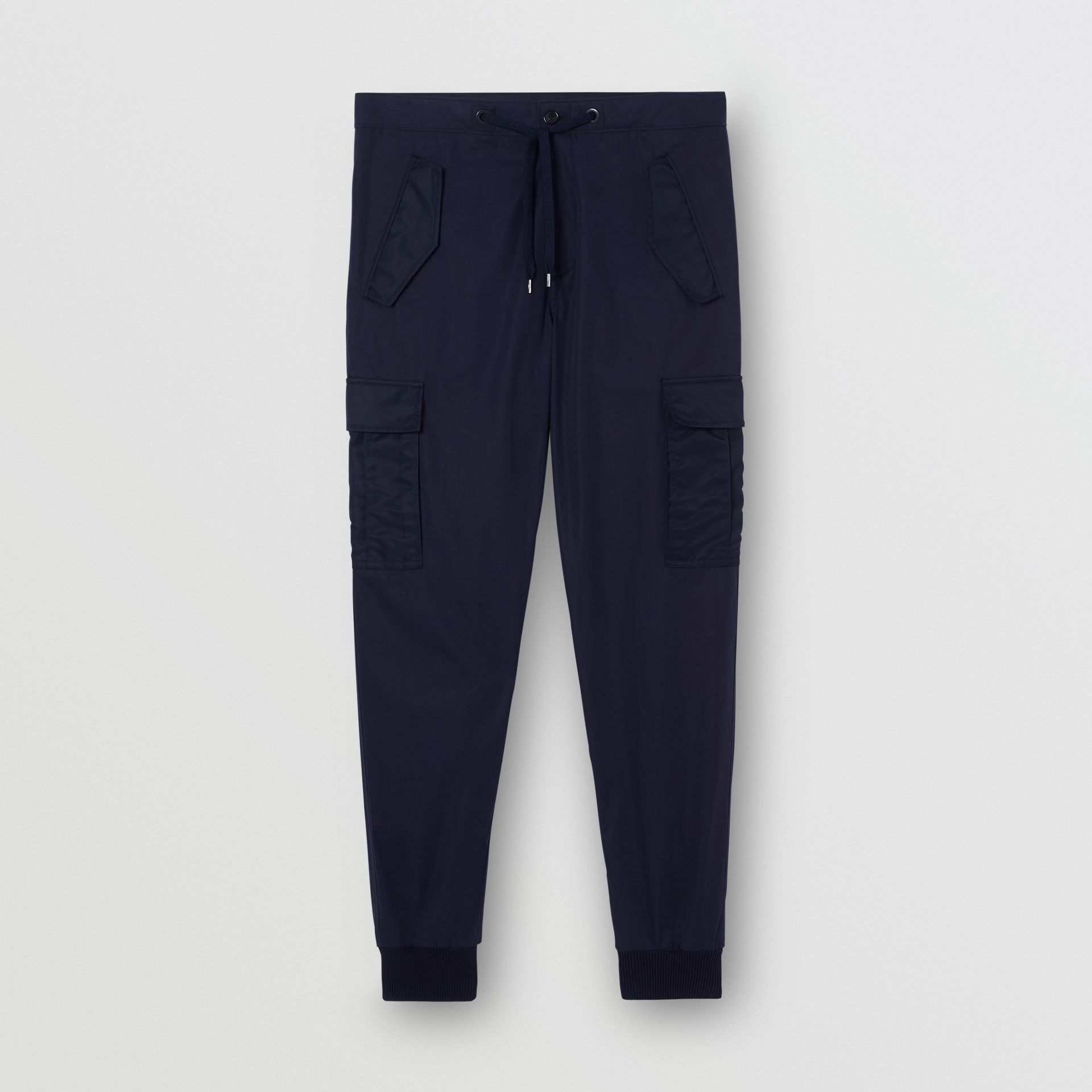 Cotton Tapered Cargo Trousers in Navy - Men | Burberry - gallery image 3