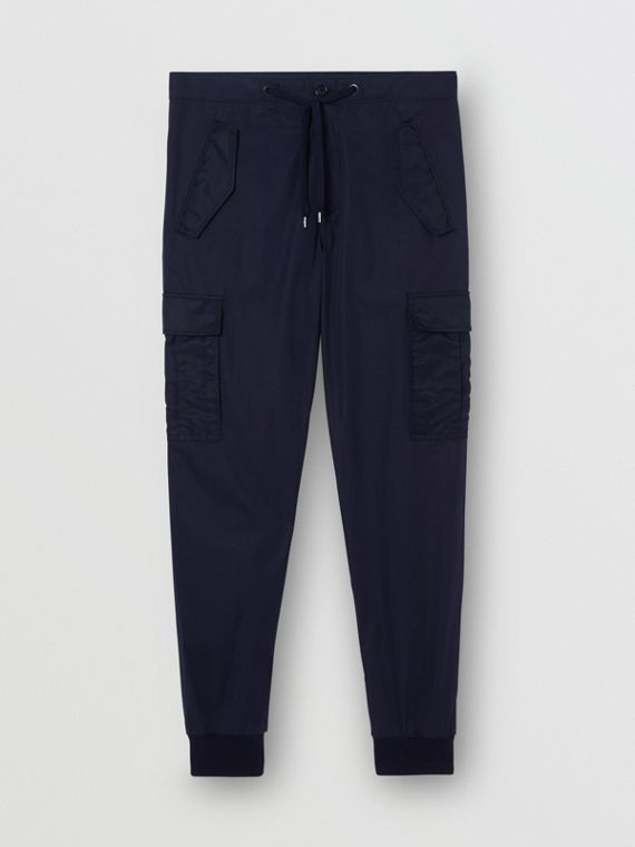 Cotton Tapered Cargo Trousers in Navy