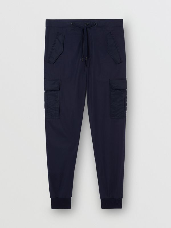 Cotton Tapered Cargo Trousers in Navy - Men | Burberry Australia - cell image 3