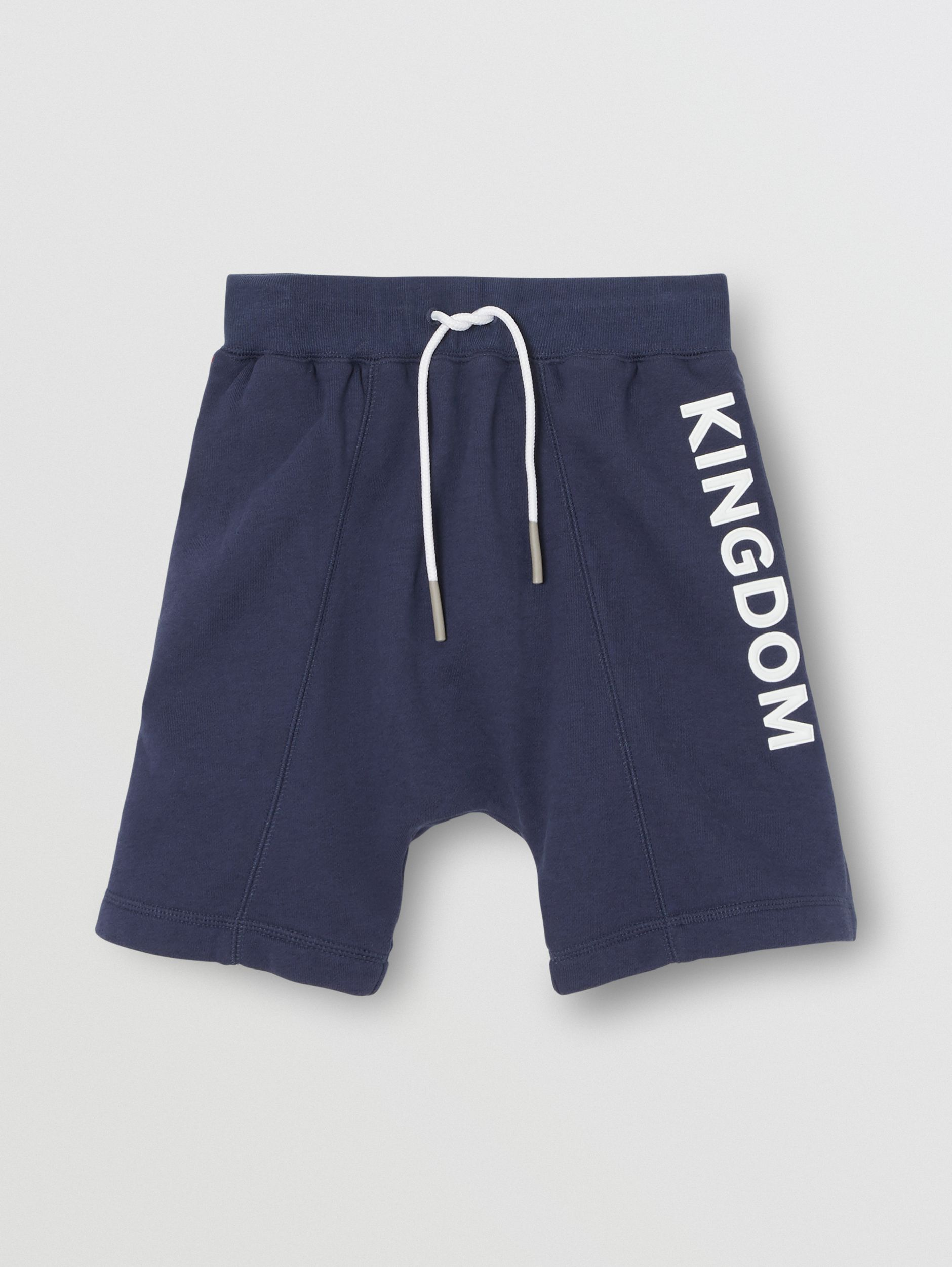 Kingdom Motif Cotton Drawcord Shorts in Slate Blue Melange | Burberry United States - 1