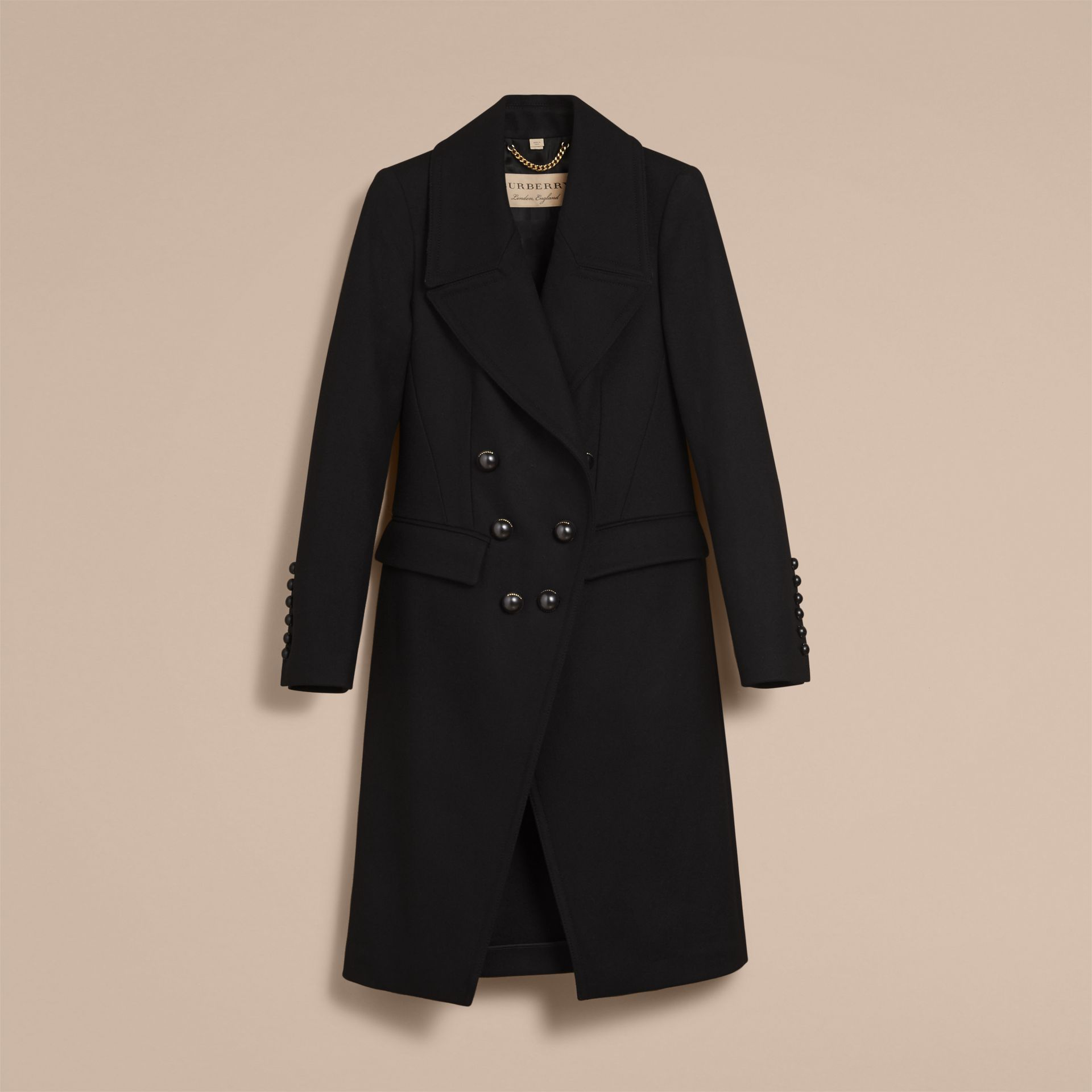 Wool Blend Double-breasted Coat in Black - Women | Burberry Canada - gallery image 4