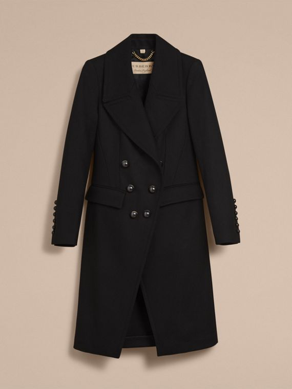 Wool Blend Double-breasted Coat in Black - Women | Burberry Canada - cell image 3