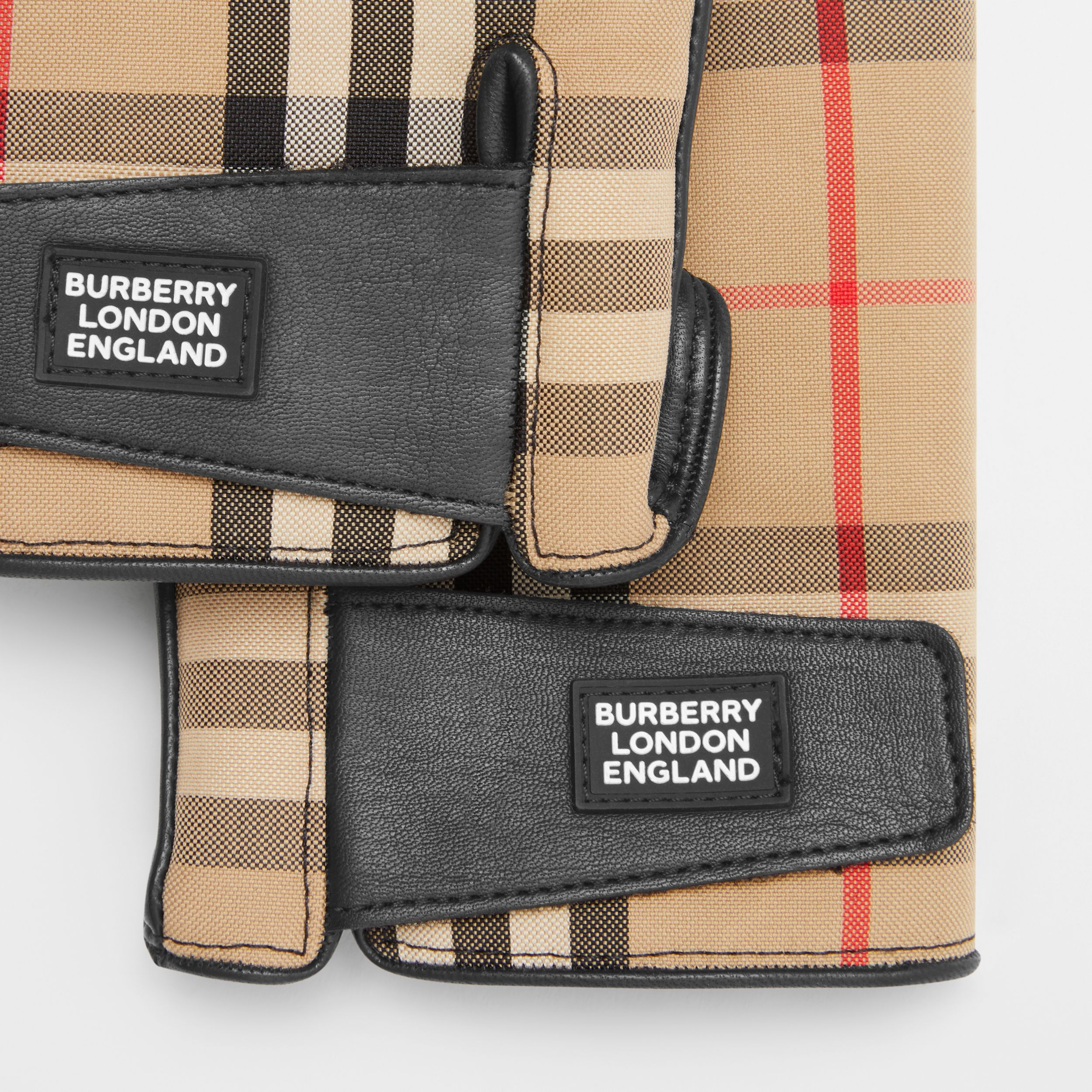 Logo Appliqué Vintage Check and Lambskin Gloves in Archive Beige | Burberry - 2