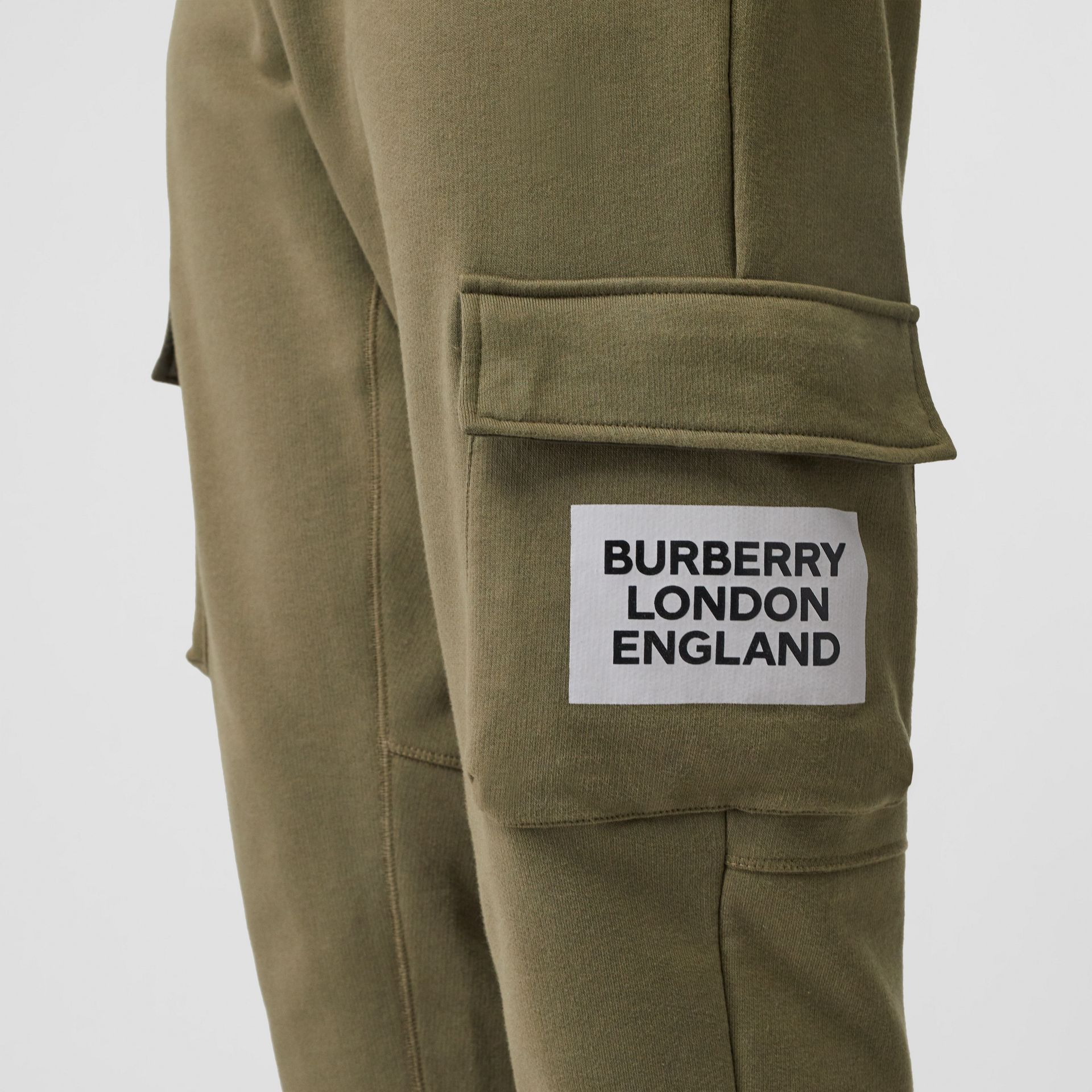 Logo Print Cotton Trackpants in Dark Moss - Men | Burberry - gallery image 6