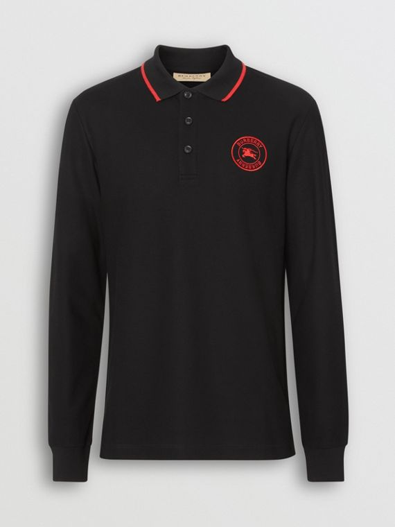 Long-sleeve Embroidered Logo Cotton Polo Shirt in Black