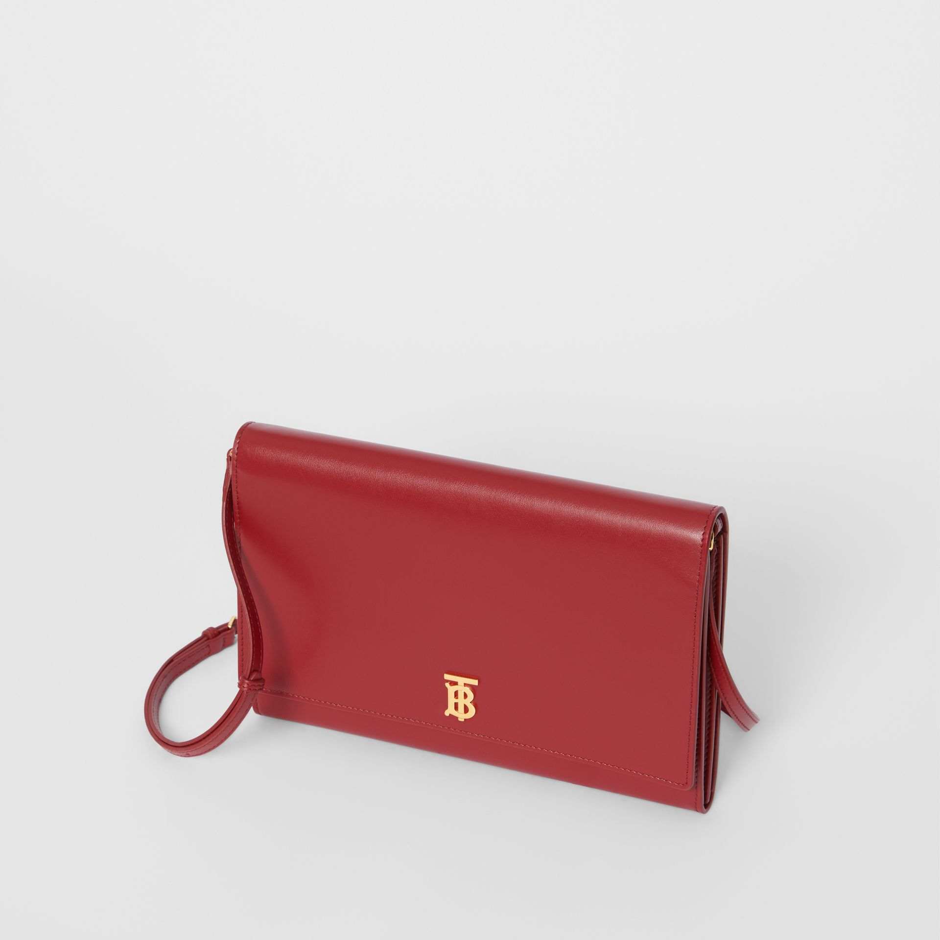 Monogram Motif Leather Bag with Detachable Strap in Crimson - Women | Burberry - gallery image 3