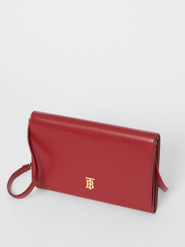 Monogram Motif Leather Bag with Detachable Strap in Crimson - Women | Burberry - cell image 3
