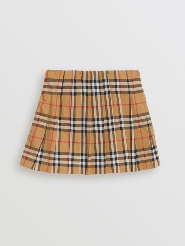 Vintage Check Pleated Skirt in Antique Yellow | Burberry United Kingdom - cell image 3