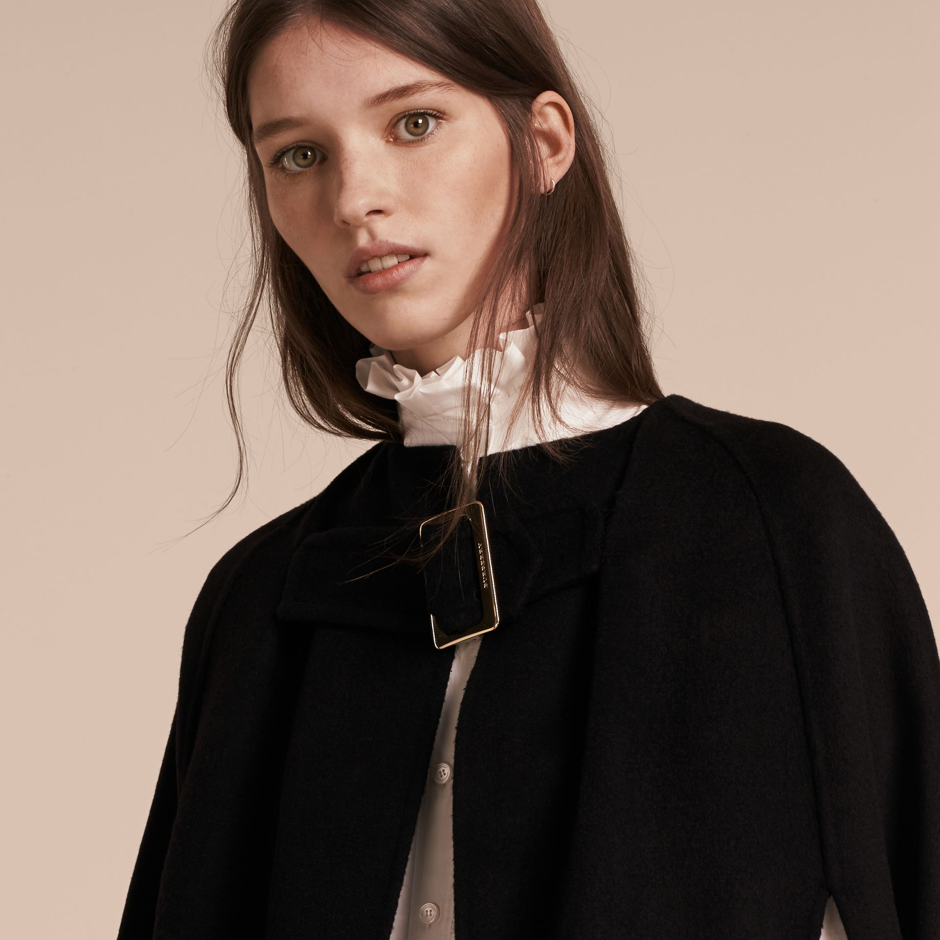 Black Panelled Cashmere Cape with Buckle Detail - gallery image 5