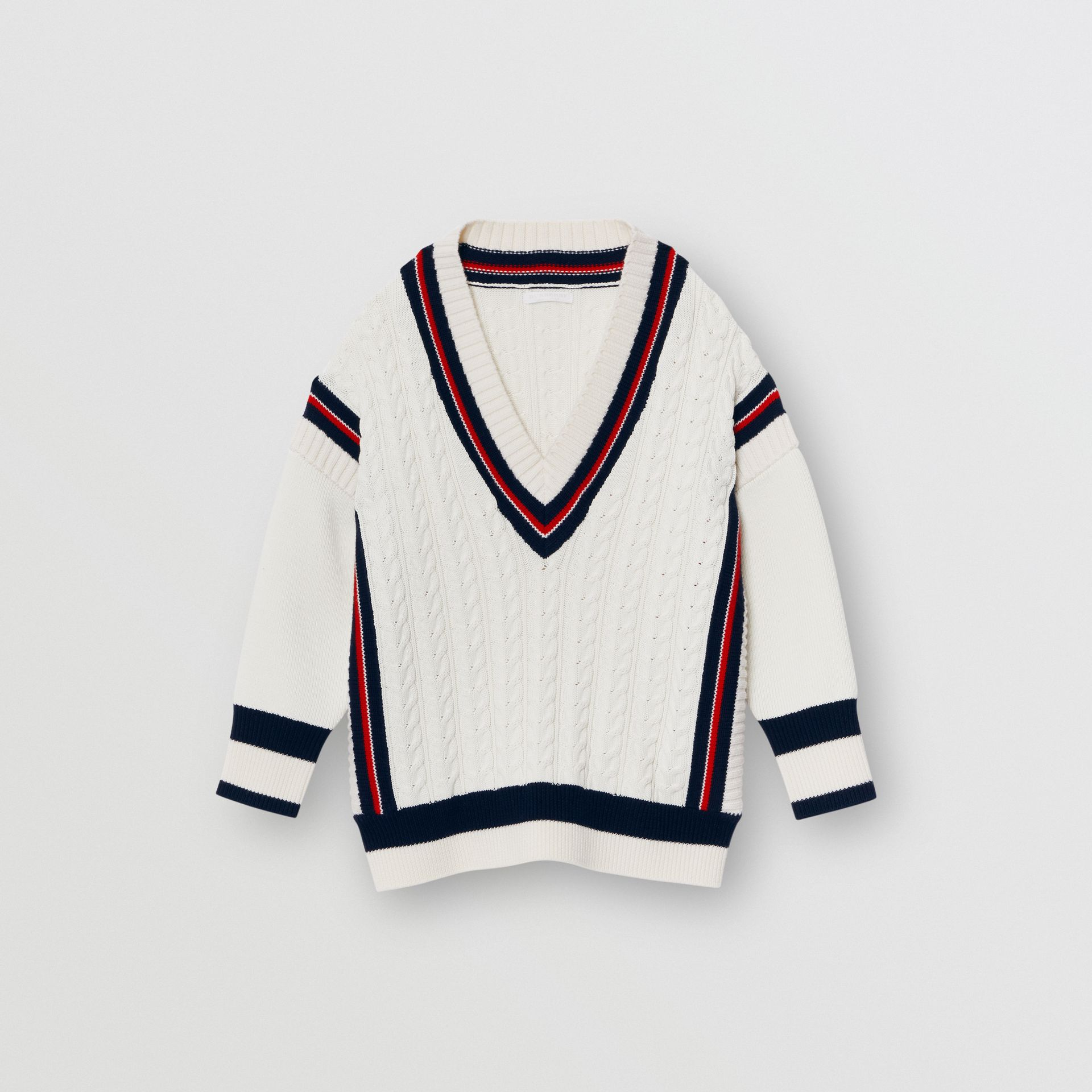 Stripe Detail Cotton and Merino Wool Sweater in White - Children | Burberry - gallery image 0