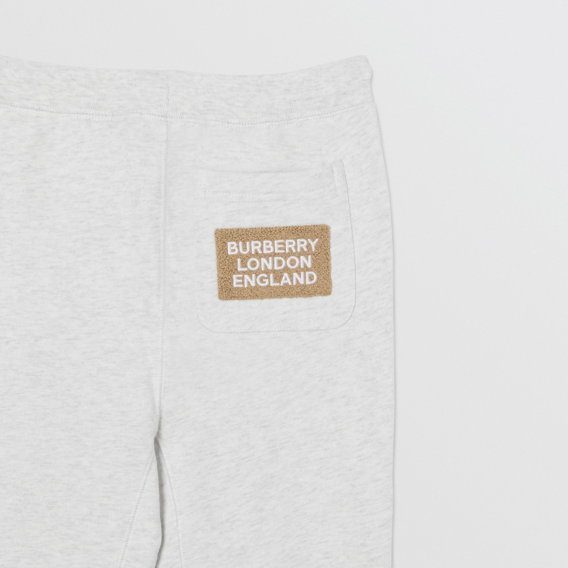 Logo Detail Cotton Trackpants in White Melange | Burberry - gallery image 5