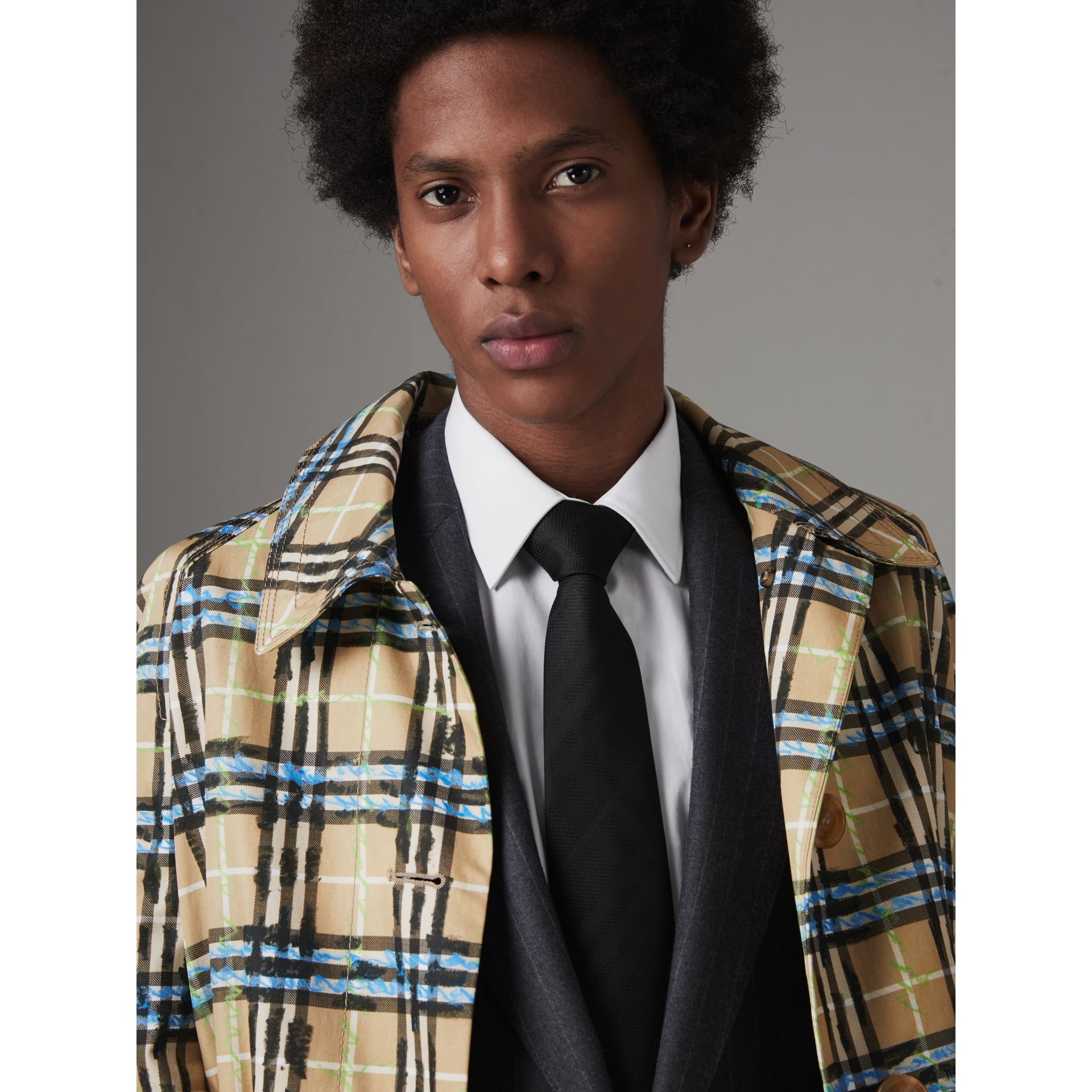 Classic Cut Check Silk Jacquard Tie in Black - Men | Burberry United States - gallery image 2