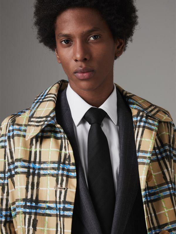 Classic Cut Check Silk Jacquard Tie in Black - Men | Burberry United States - cell image 2