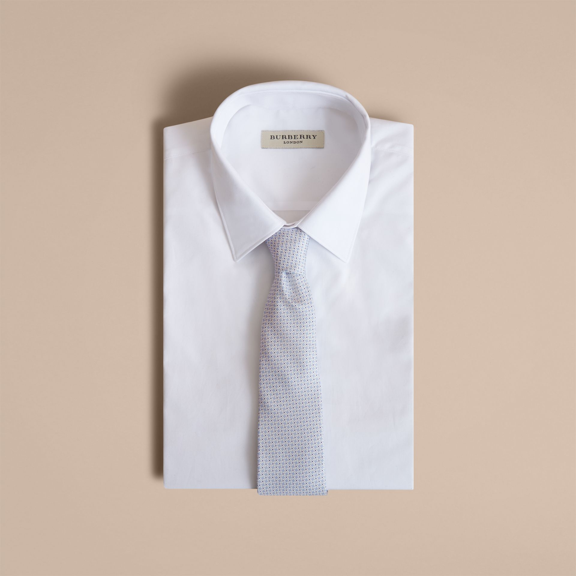 Modern Cut Graphic Puppy Tooth Print Silk Tie in Pale Blue - Men | Burberry Singapore - gallery image 4