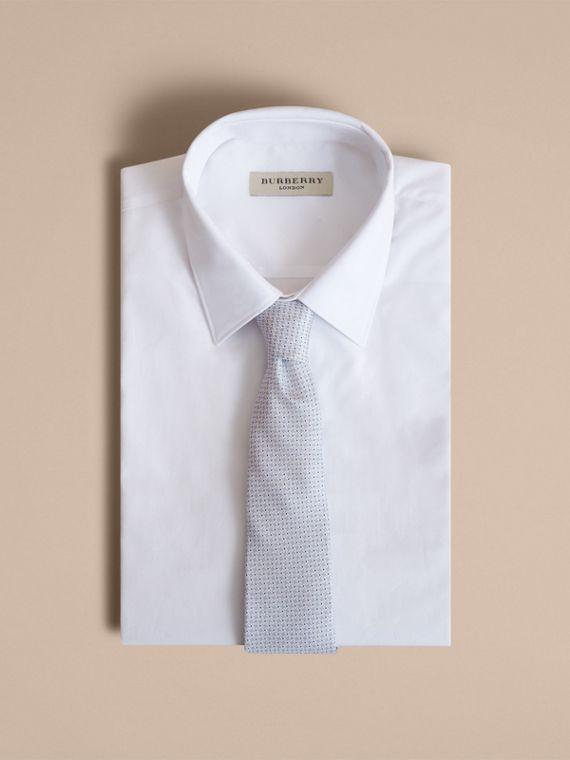 Modern Cut Graphic Puppy Tooth Print Silk Tie in Pale Blue - Men | Burberry - cell image 3