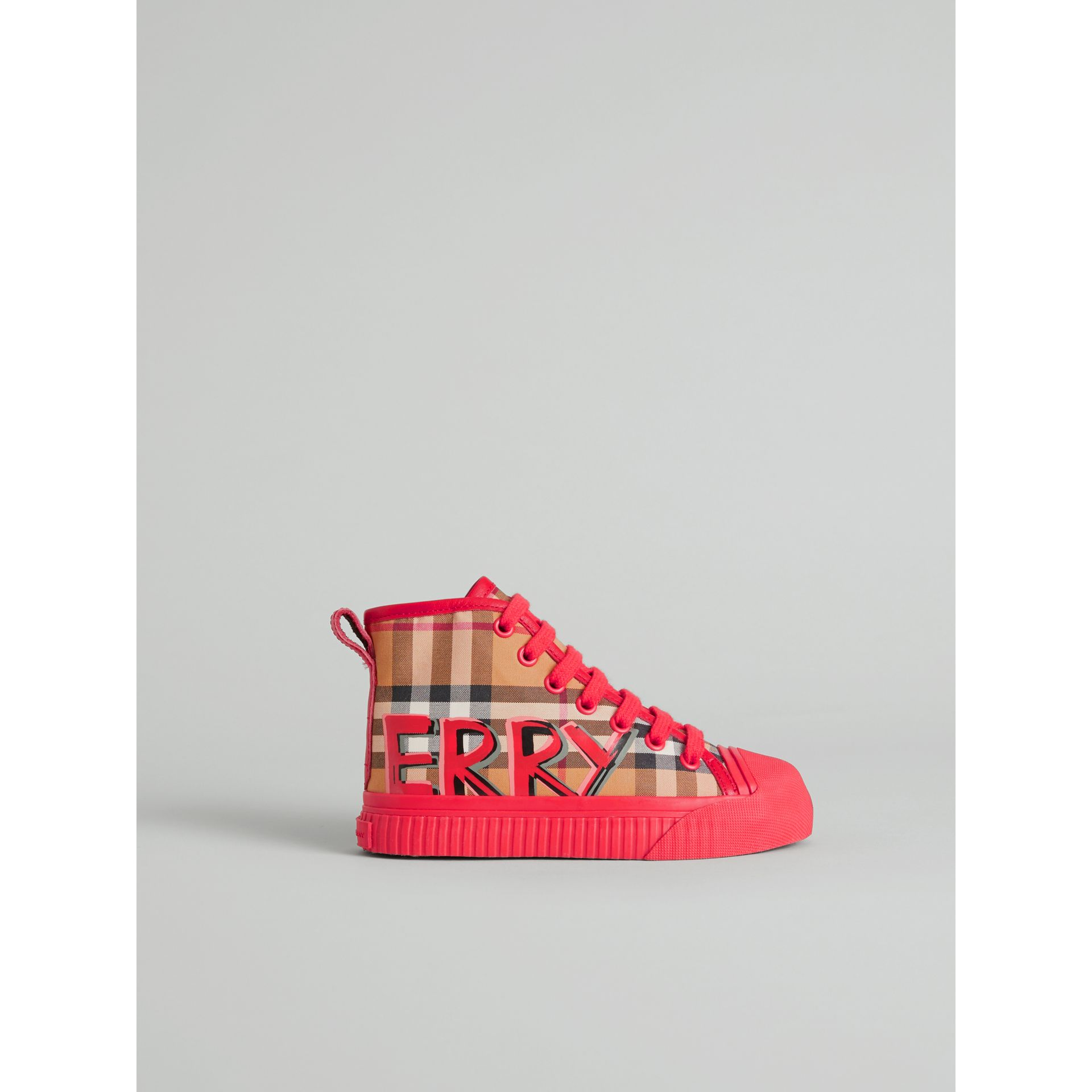 Graffiti Vintage Check High-top Sneakers in Bright Red | Burberry Australia - gallery image 3