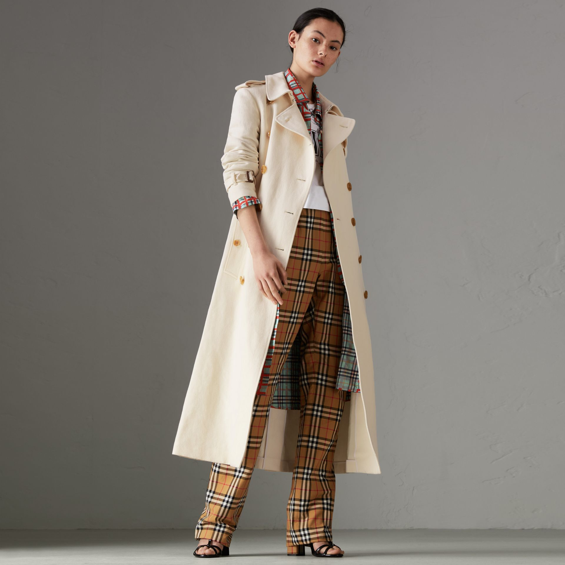 Cotton Linen Canvas Trench Coat in Off White - Women | Burberry - gallery image 0