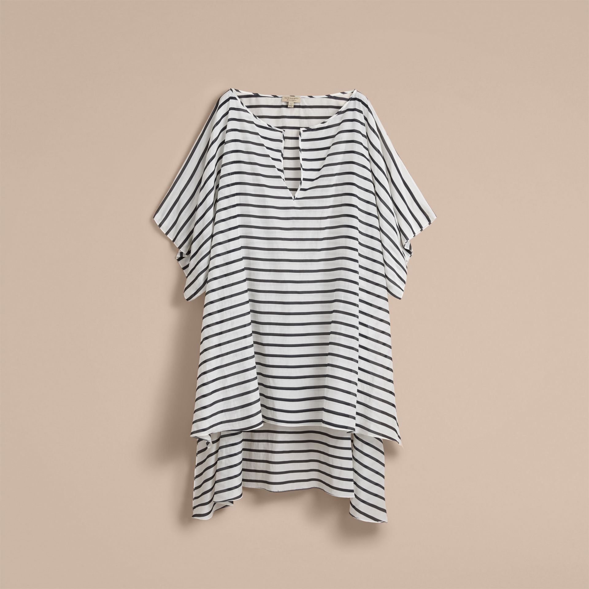 Striped Cotton Silk Kaftan - Women | Burberry Hong Kong - gallery image 4