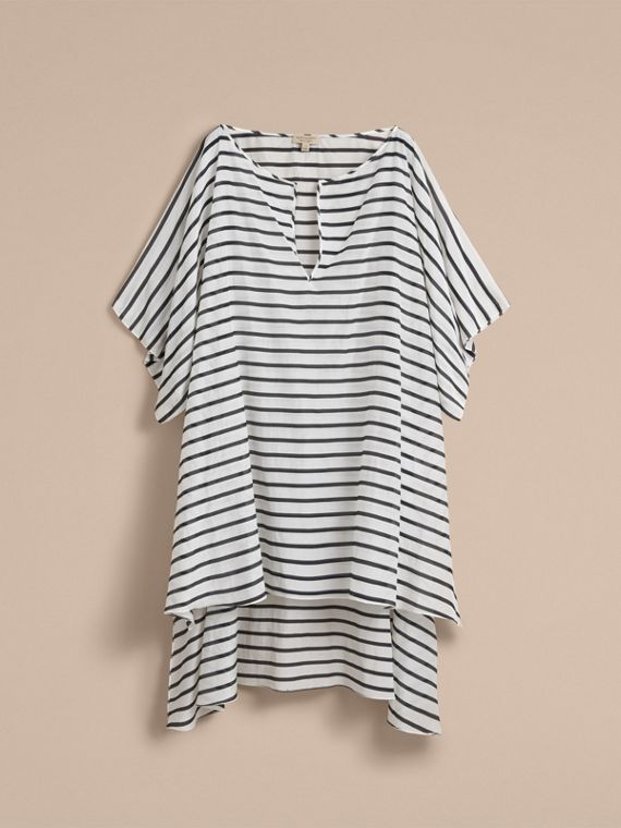 Striped Cotton Silk Kaftan - Women | Burberry - cell image 3