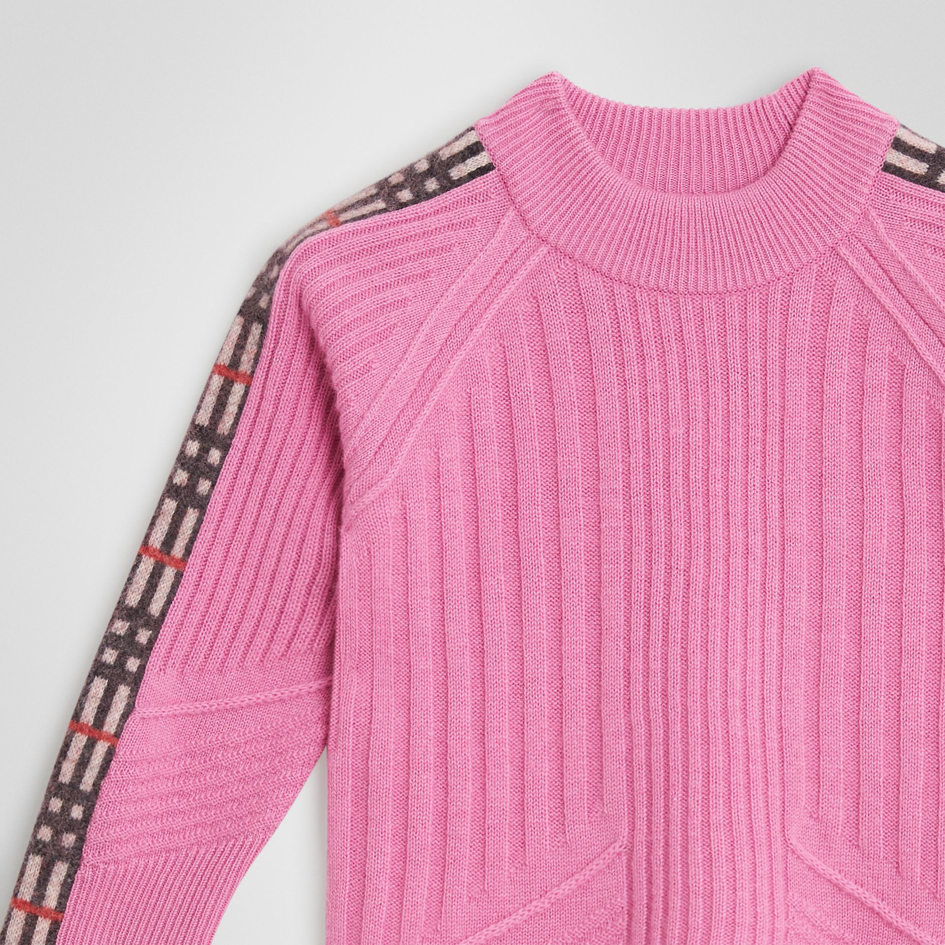 Check Detail Wool Cashmere Sweater in Rose Pink | Burberry Singapore - gallery image 4