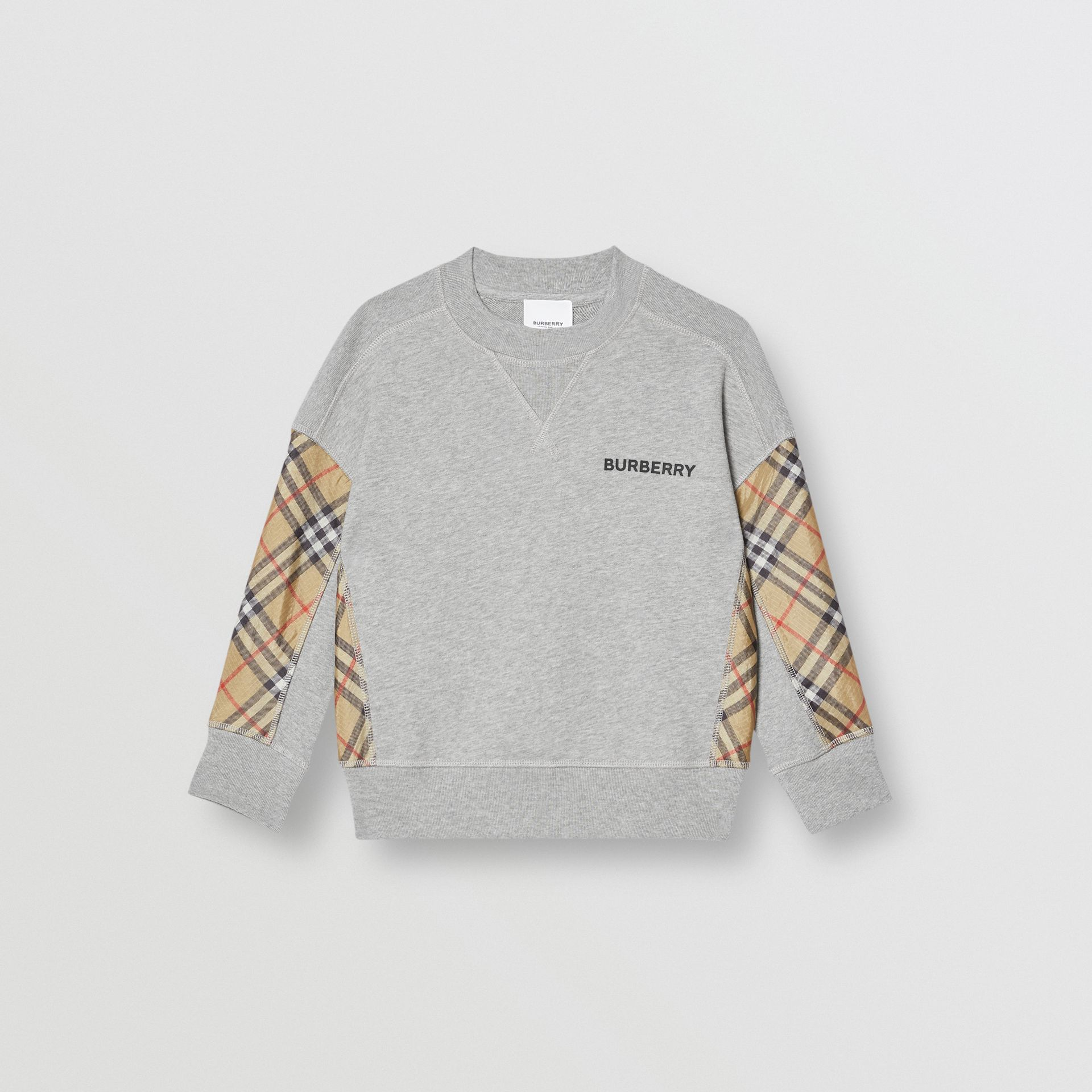 Vintage Check Panel Cotton Sweatshirt in Grey Melange - Boy | Burberry - gallery image 0